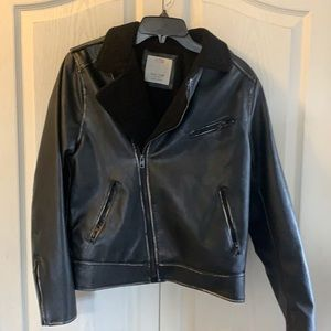 Zara faux leather distressed motorcycle jacket